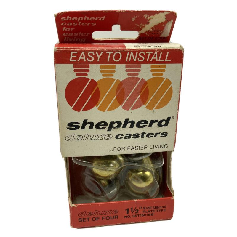 "Shepherd Deluxe Casters 1 1/2"" Brass Starlet Set of Four"