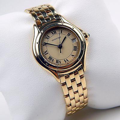 Ladies Cartier Panthere Cougar 18 kt Gold Quartz Bracelet Watch Ref 887906  9689