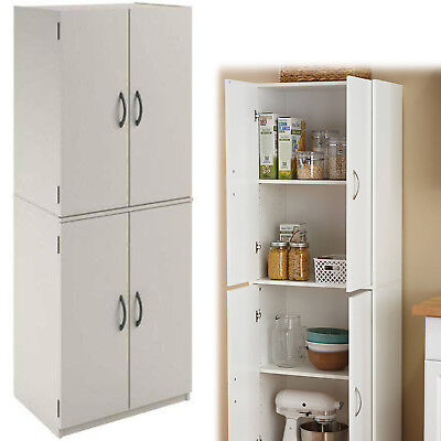 TALL KITCHEN PANTRY Cabinet Shelf Storage Organizer Freestanding Cupboard White