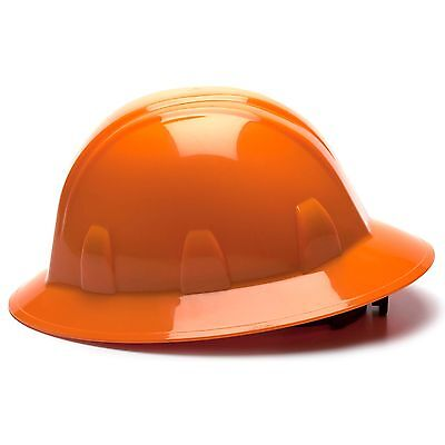 Pyramex Full Brim Hard Hat With 6 Point Ratchet Suspension Orange
