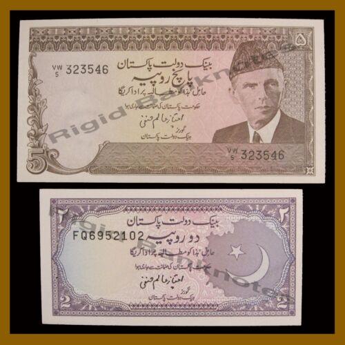 Pakistan 2 & 5 Rupees (2 Pcs Set), 1983-1999 P.37- 38  Unc