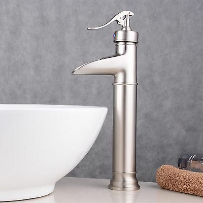 Brushed Nickel Sink Faucet Bathroom One Hole Handle Mixer Tap Vessel Waterfall