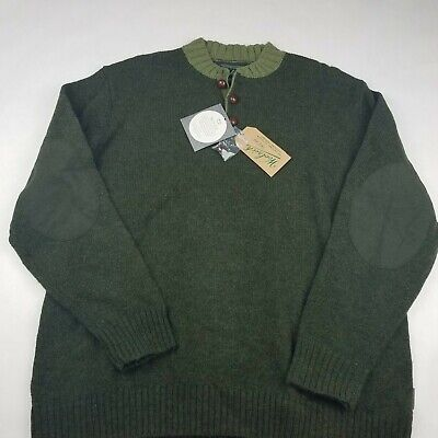 NEW Woolrich Mens Kennebeck Shetland Wool Sweater XL Elbow Patches Green NWT