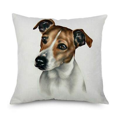 """Jack Russell Dog Cushion Cover 18"""" Printed Watercolour Terrier Animal Linen Gift"""