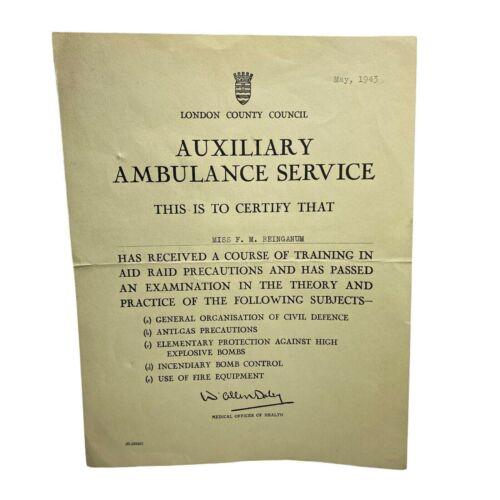 Vtg 1943 WWII Era AUXILIARY AMBULANCE SERVICE London County Council Certificate