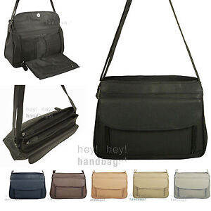Organiser Handbag Long Shoulder Strap Bag Across Cross Body Compartments Ladies