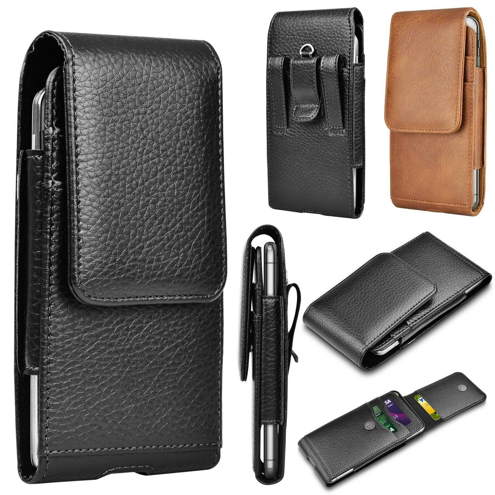 Cell Phone Holster Pouch Leather Wallet Carrying Case with Belt Loop Card Holder Cases, Covers & Skins