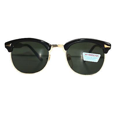 Stylische Vintage Sonnenbrille cool black/gold - green smoke  RBC77