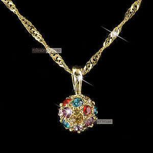 18k yellow gold gf SWAROVSKI crystal ball lady women wedding pendant necklace