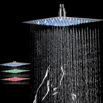 LED 10-inch Rainfall Shower Head Wall/Ceiling Mounted Top Over-head Sprayer New