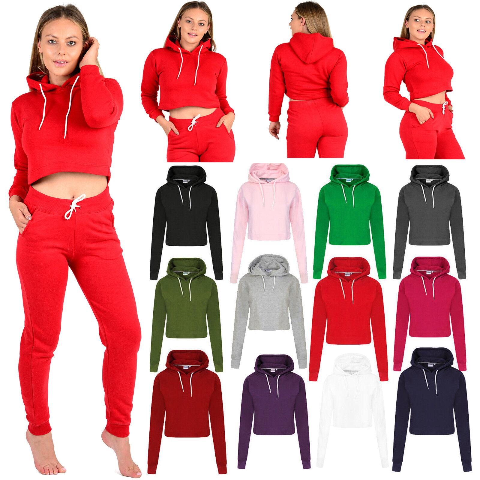Womens Girls Casual Crop Tops Pullover Hooded Sweatshirt Jumper Hoodie Sportwear