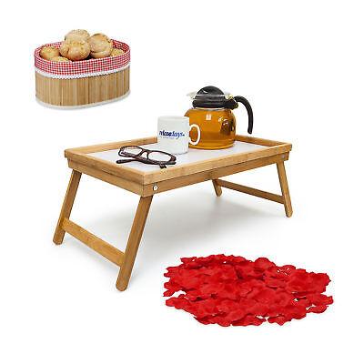 3 teiliges Set Frühstück im Bett, Betttablett, faltbarer Brotkorb, Rosenblätter