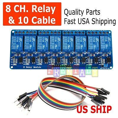 8 Channel 5v Relay Shield Module Board Cables Arduino Raspberry Pi Arm Avr
