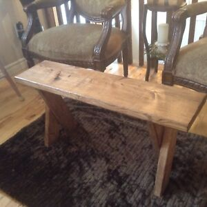 "Rustic bench / coffee table h 21"" w 9 1/2"" l 36"" $40.00"