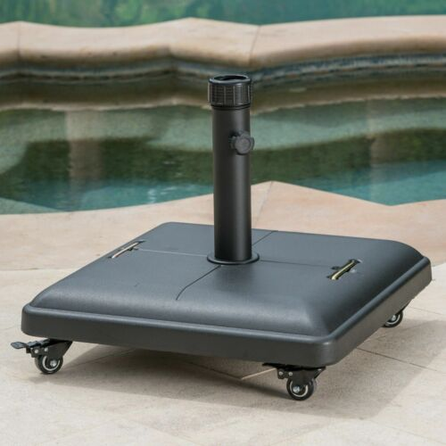 Hercules 80lbs Black Steel Square Umbrella Base with Wheels Garden Structures & Shade