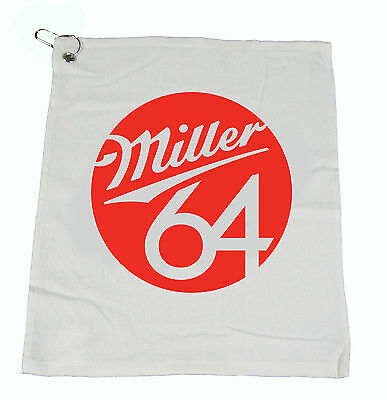 """MILLER 64 Beer Bar Golf Fishing Hand COTTON WHITE Towel 15""""X18"""" NEW"""