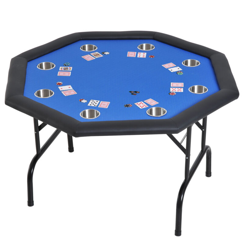 """48"""" 8 Player Octagon Poker Table Gaming Desk Foldable w/ Cup Holders"""