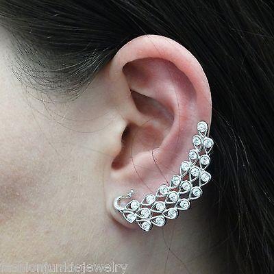 Peacock Ear Cuff Earring - 925 Sterling Silver - Ear Climber