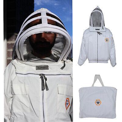 Beekeeping Cotton Ventilated Beekeeper Jacket Bee Hat Fencing Veil Wbag - Large