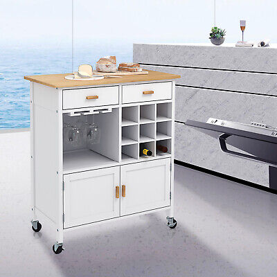 Kitchen Island Trolley Cart Storage 2 Drawers Cabinet Wood Top Wine Rack  White