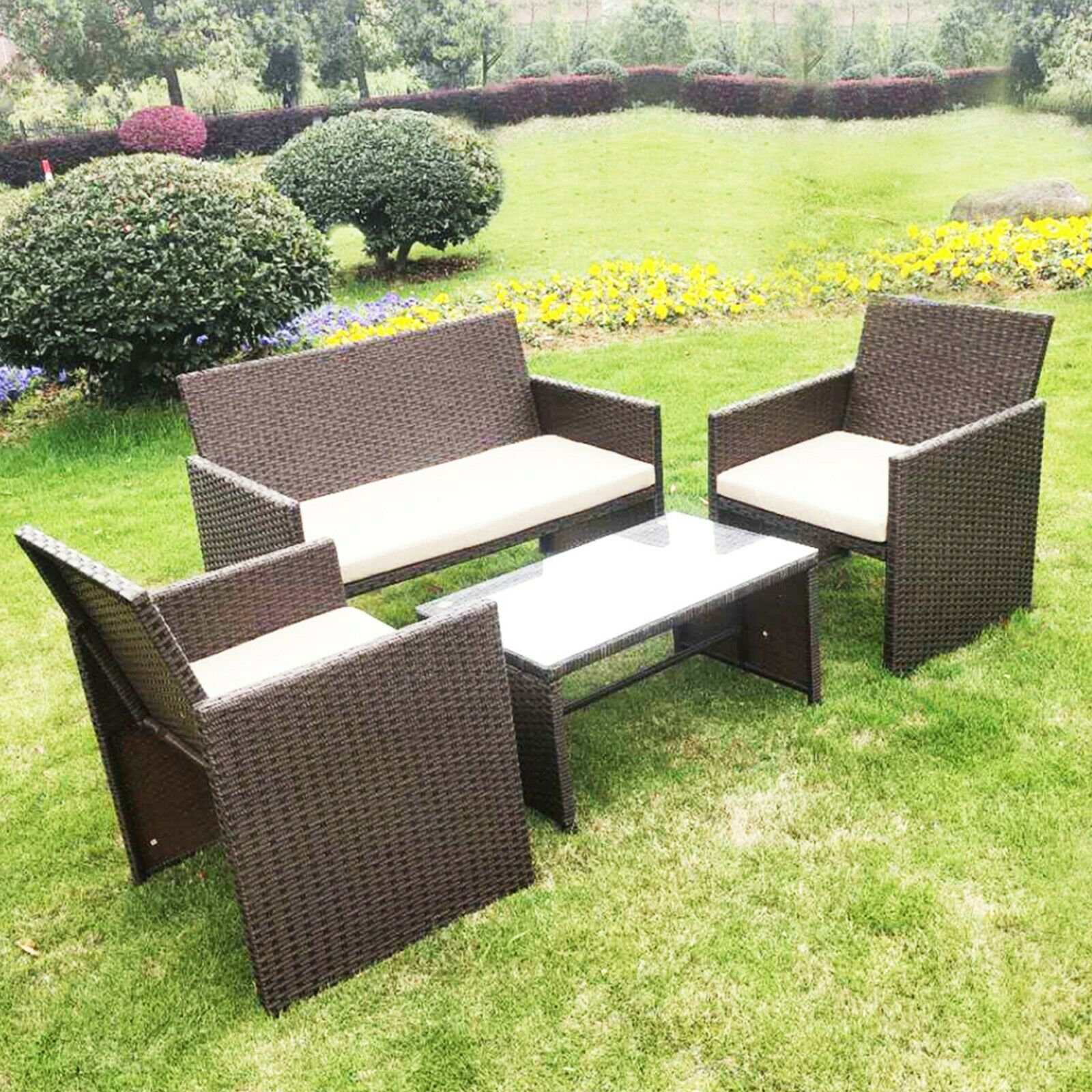 Garden Furniture - 4PC Rattan Set Outdoor Garden Patio Furniture - 1x Love Seat, 2x Chairs & Table