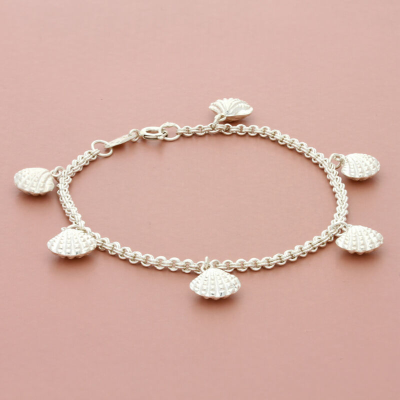 blushed sterling silver puffy sea shell charm chain bracelet size 7in
