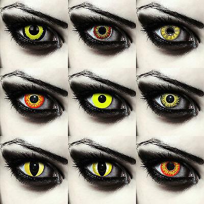 Gelbe farbige Kontaktlinsen für Halloween Pennywise Kostüm Dämonen Exorzist gelb