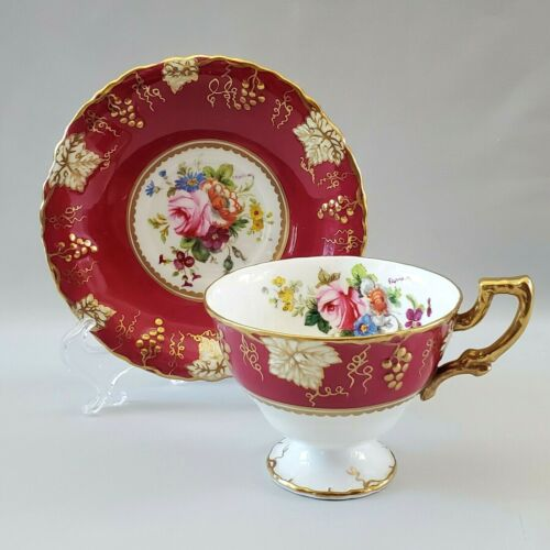 Royal Crown Derby VINE Hand Painted Tea Cup Saucer Artist Signed Flowers England