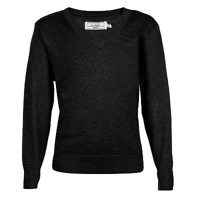 Men's V Neck Pullover Jumpers Sweater Premium 100% Cotton Black Large Medium