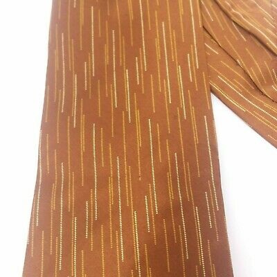 Donna Karan Men's Necktie Tie Brown with Line Design Italian Silk  Italian Line Design