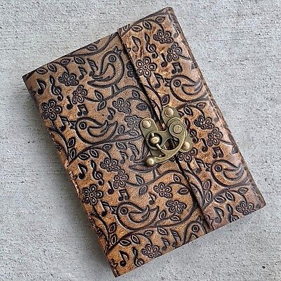 Handmade Brown Leather Journal Book lock rugged diary Embossed music notes bird