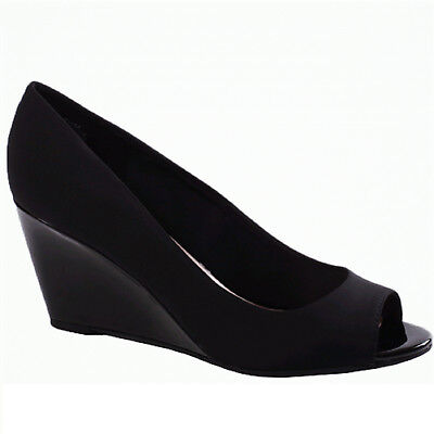 Women's Bandolino TUFFLOVE Black Fab Wedge Pump Shoes