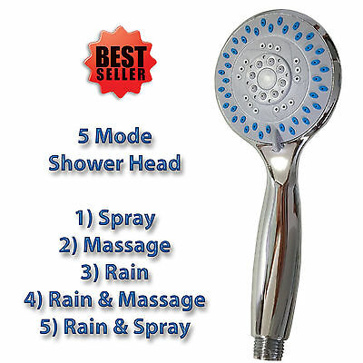 UNIVERSAL CHROME 5 MODE BATHROOM SHOWER HEAD WATER SPRAY ANTI LIMESCALE