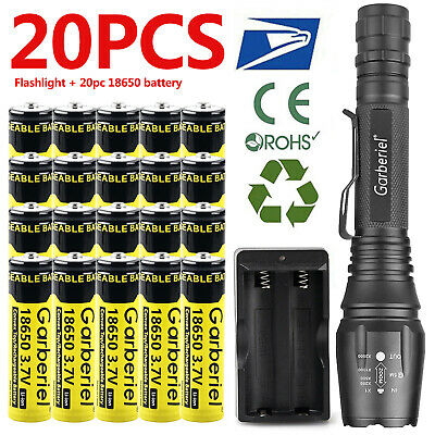 Dual Charger 4pc 18650 Li-ion Battery Rechargeable Batteries T6 LED Flashlight