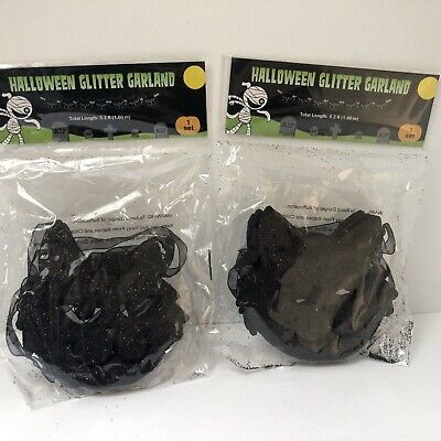 2 Halloween Banners Garland Black Cat Faces Glitter Party Decor Sealed Vintage