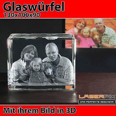 R130 Glas 3D Laser Foto Gravur Geschenkidee in 3D Weihnachten Familie NEU Hund