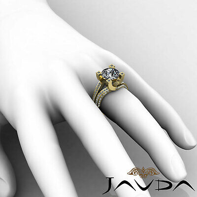 Trellis Style Split Shank Round Cut Diamond Engagement Pave Ring GIA I VS2 2.5Ct 11
