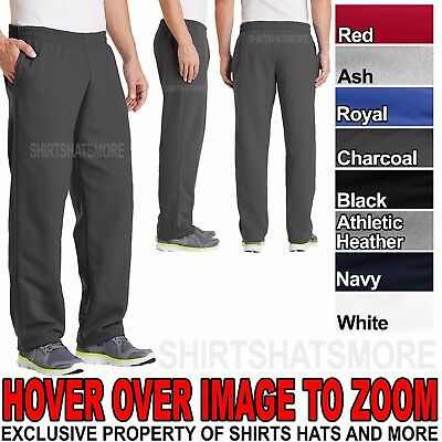 (Mens Core Fleece Open Bottom Sweat Pants with Pockets Poly Cotton Blend S M L XL)