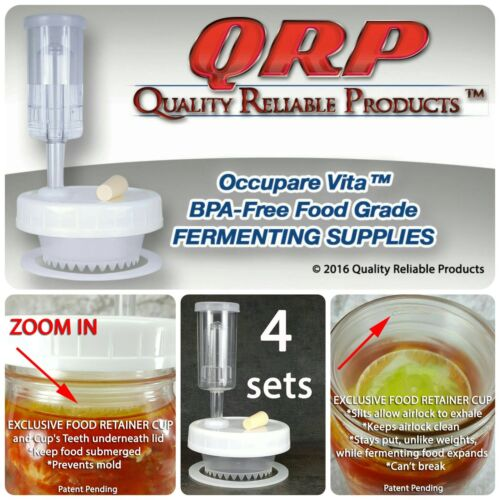 4 QRP Mason Jar FERMENTATION KITS w/ EXCLUSIVE CUP WEIGHTS Keep Food Submerged