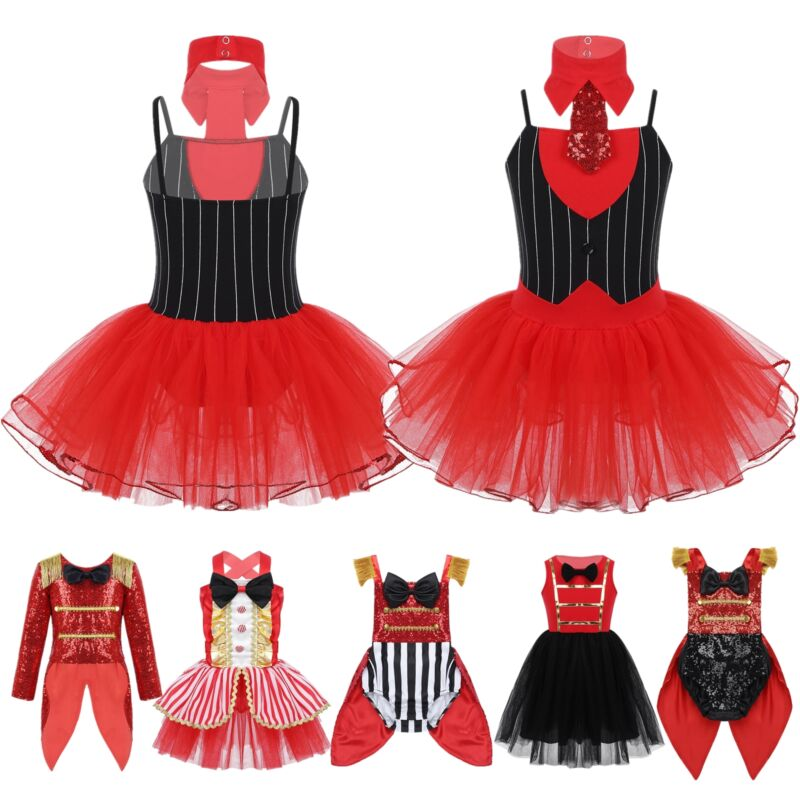 Girls Kids Showman Ringmaster Circus Costume Sequins Halloween Fancy Dress Up