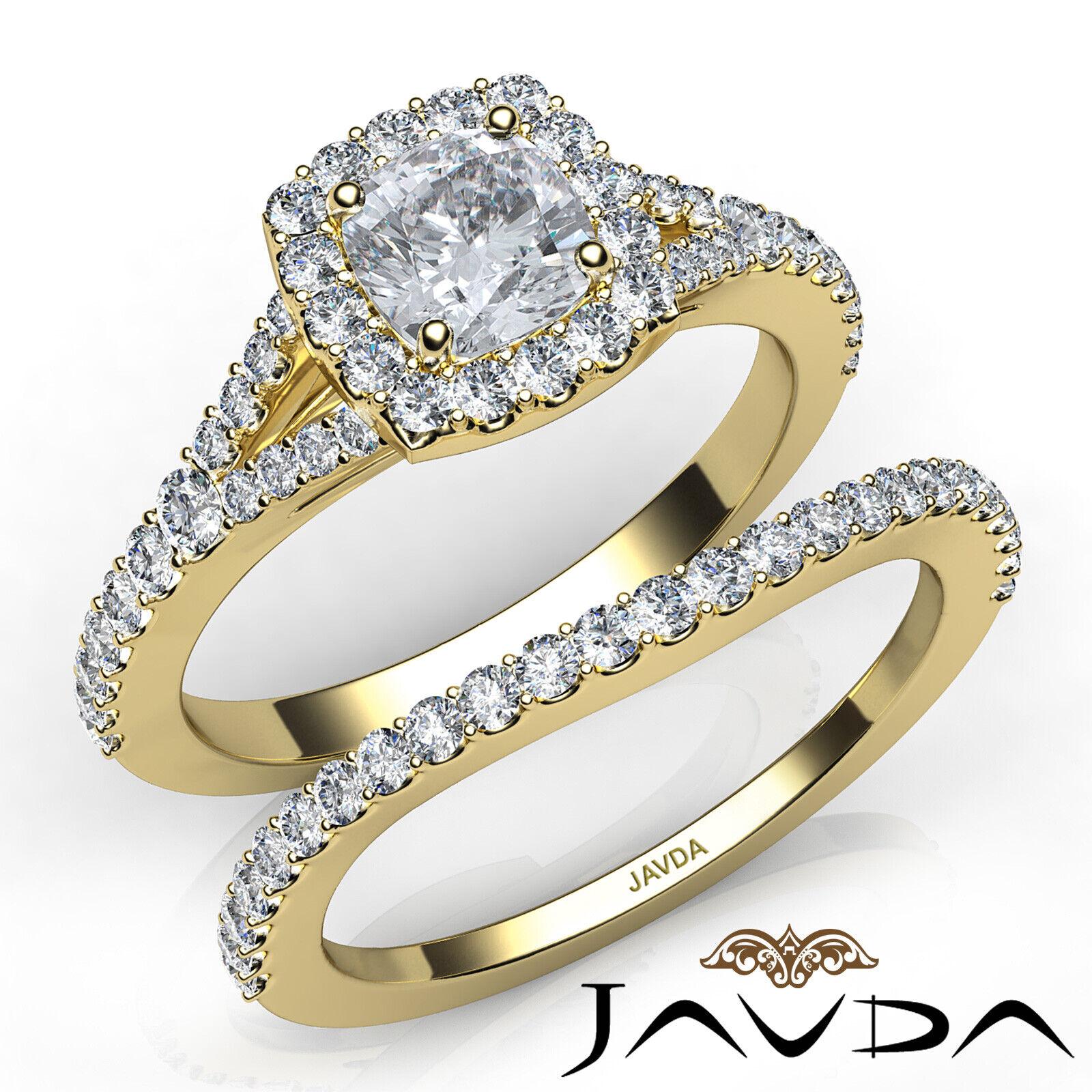 1.5ctw U Cut Pave Halo Bridal Cushion Diamond Engagement Ring GIA F-VS2 W Gold 8