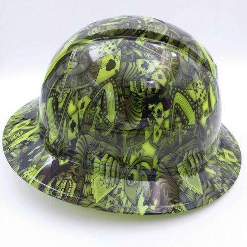 FULL BRIM Hard Hat custom hydro dipped , NEW DEALERS CHOICE LIME  HOT NEW  2