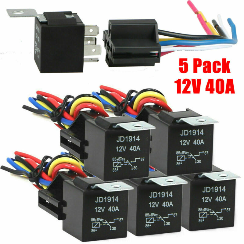 5 Pack 12V 30/40 Amp 5-Pin SPDT Automotive Relay with Wires & Harness Socket Set