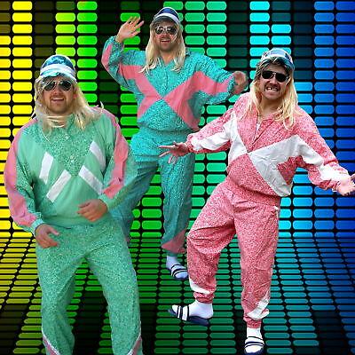 80er Jahre Trainingsanzug mit Cap, Retro 80s Jogginganzug Karneval Fasching
