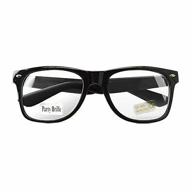 Nerd Retro Brille Schwarz Clear klar Streber Hornbrille Atzenbrille ohne Stärke