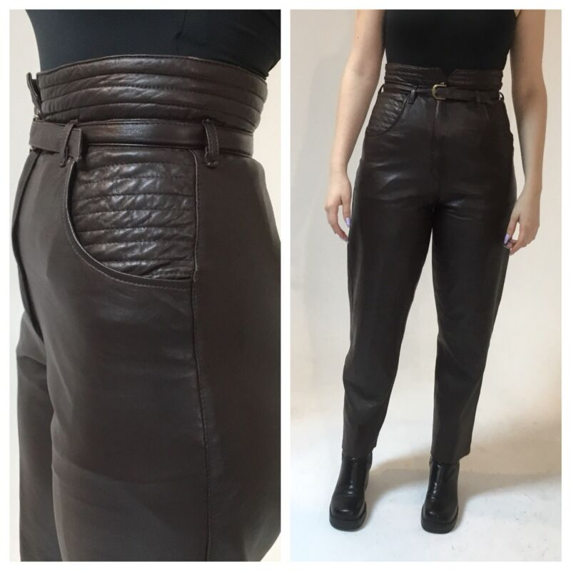 """Vintage 1980s brown leather high Waist pants, Quilted detail, belted 28"""""""