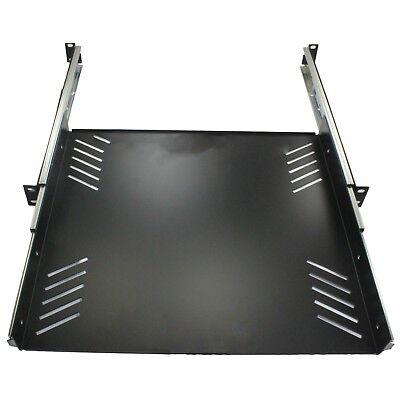 """1U Sliding Server Shelf 19"""" Rack Panel Adjustable Mount Drawer 12""""-21"""""""