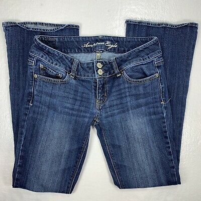 American Eagle Womens Low Rise Artist Flare Stretch Blue Jeans Size 2 -