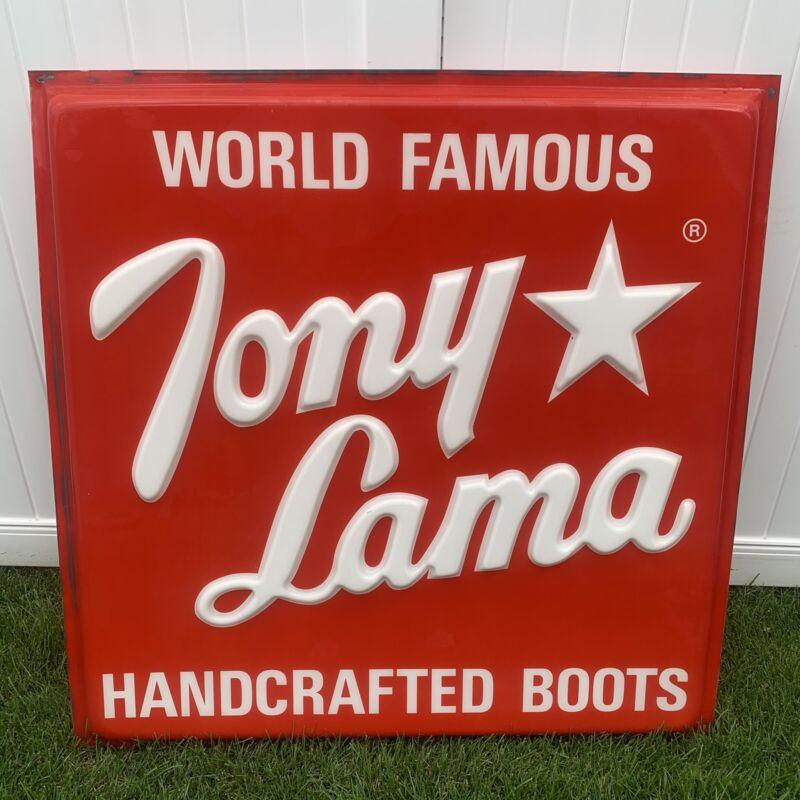 "Vintage Tony Lama Large Retail Advertisement Sign 48""x48"""