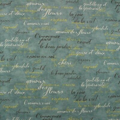 WAVERLY FRENCH SCRIPT SPA BLUE PARIS MULTIUSE COTTON FABRIC BY THE YARD -